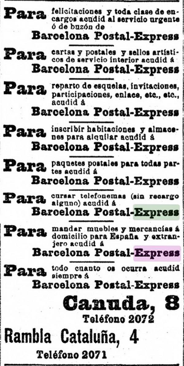 Barcelona-Postal-Express-advertisement- LAVANGUARDIA-00-Briefmarke-Stamp-Sello-Timbro–francobollo-Timbre-Frimærke-Postzegel-Známky-Poštneznamke-Znaczki