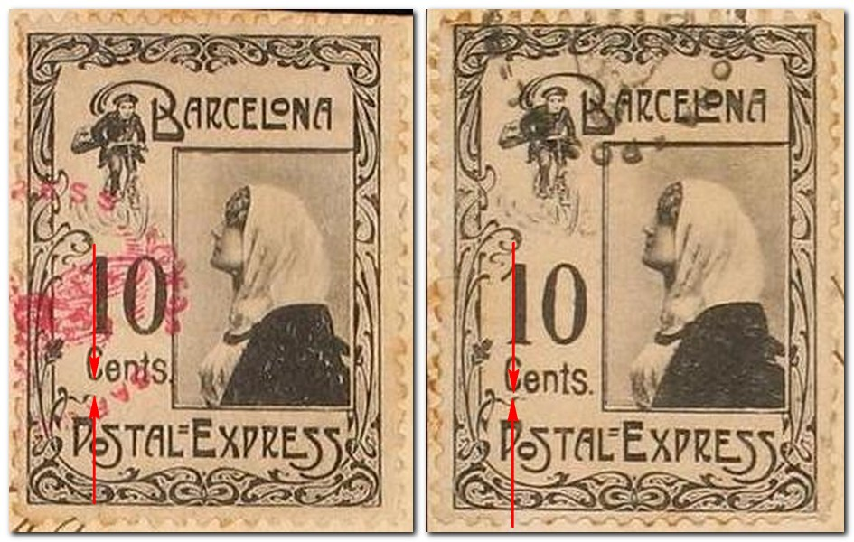 Barcelona-Postal-Express-shift-of-face-value-Briefmarke-Stamp-Sello-Timbro–francobollo-Timbre-Frimærke-Postzegel-Známky-Poštneznamke-Znaczki