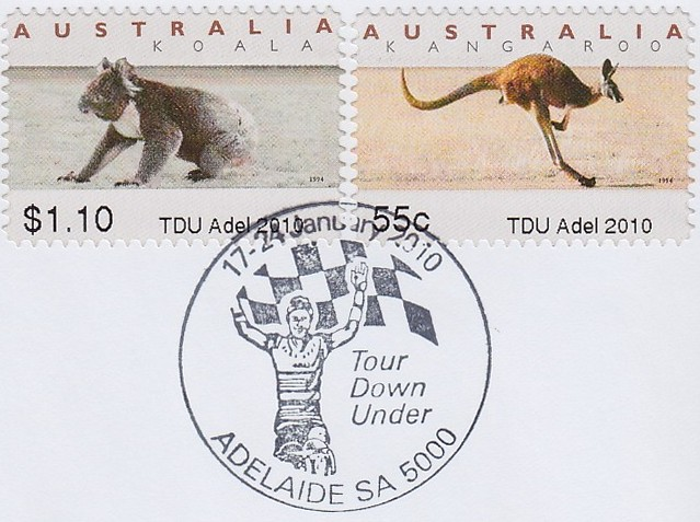 TDU-Tour-Down-Under-Adelaide-Australia-Koala-ATM-counter-cancellation-2010-bicycle-velo-Fahrrad-Briefmarke-stamp