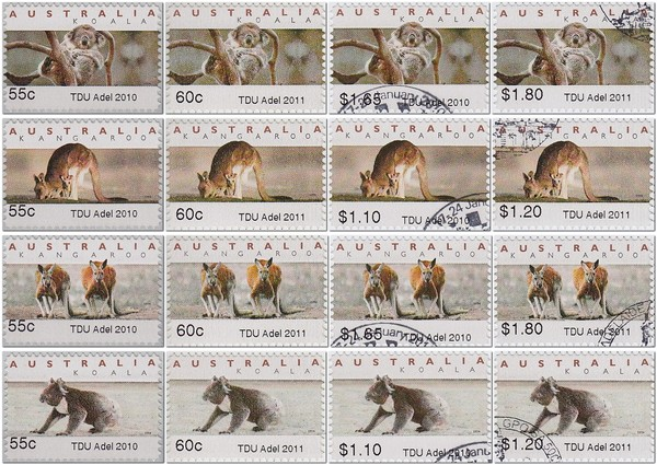 TDU-Tour-Down-Under-Adelaide-Australia-Koala-ATM-counter-face-values-2010-bicycle-velo-Fahrrad-Briefmarke-stamp