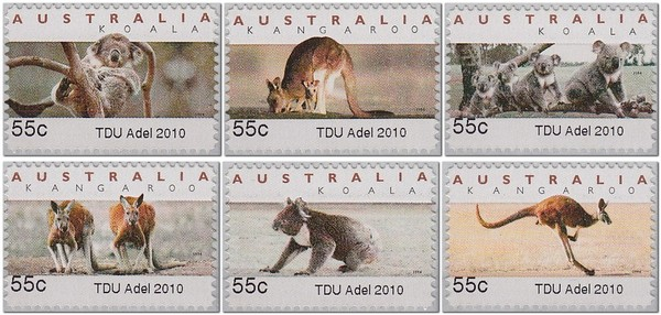 TDU-Tour-Down-Under-Adelaide-Australia-Koala-ATM-counter-printed-stamp-2010-bicycle-velo-Fahrrad-Briefmarke-stamp