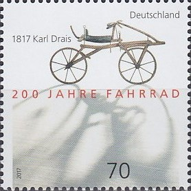 Links-Drais-200-Philatelie-Cycliste-Radsport-bicycle-stamp-velo-timbre-Fahrrad-Briefmarke-Philatelie